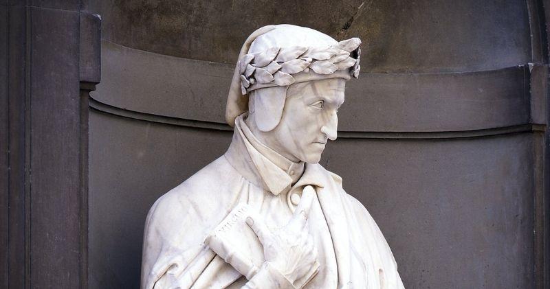 Dante statue banner